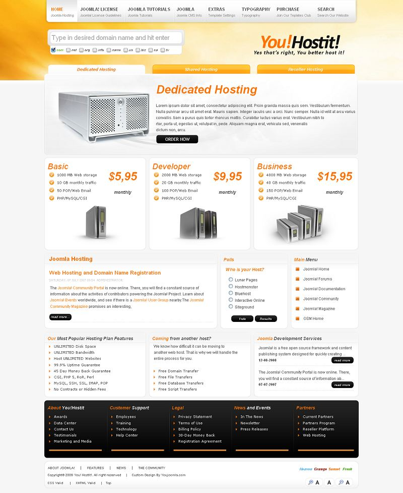 you hostit premium joomla hosting template by youjoomla. Black Bedroom Furniture Sets. Home Design Ideas
