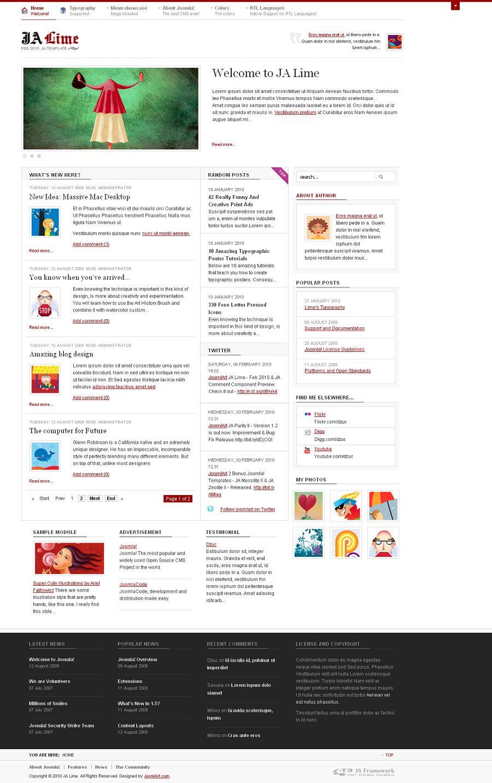 ja lime premium joomla blogging template by joomlart. Black Bedroom Furniture Sets. Home Design Ideas