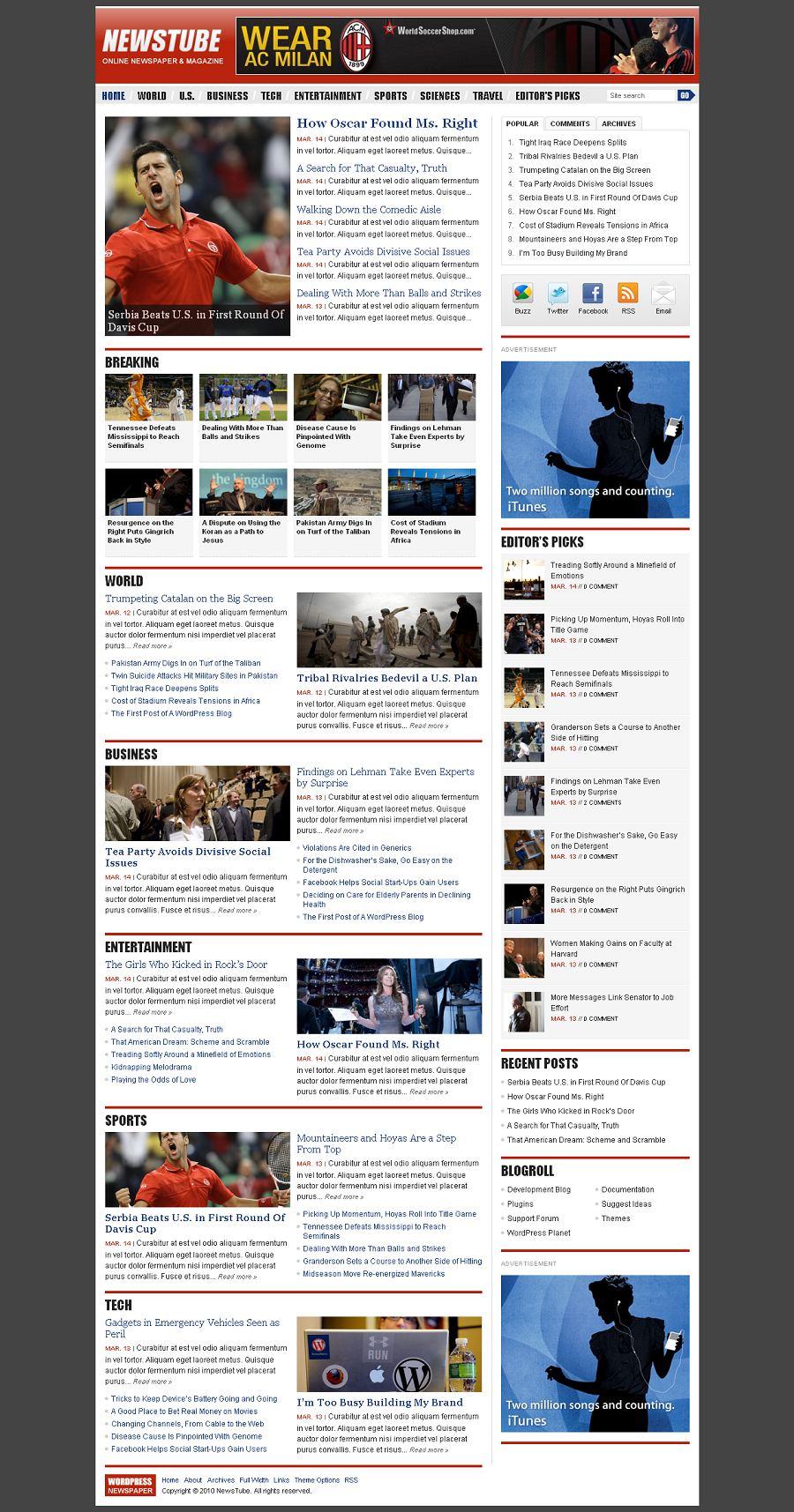 Wordpress News Template. 27 stunning yet free premium wordpress ...