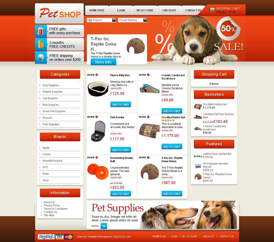 OC04A00449 OpenCart Template for Pet Shops
