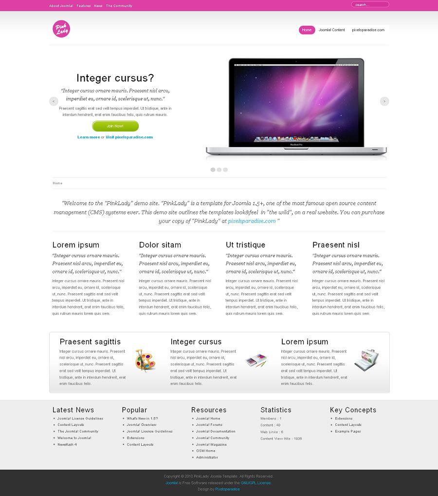 Pink Joomla Templates Pink Lady Joomla Template, Joomla Business Themes - Pixels Paradise