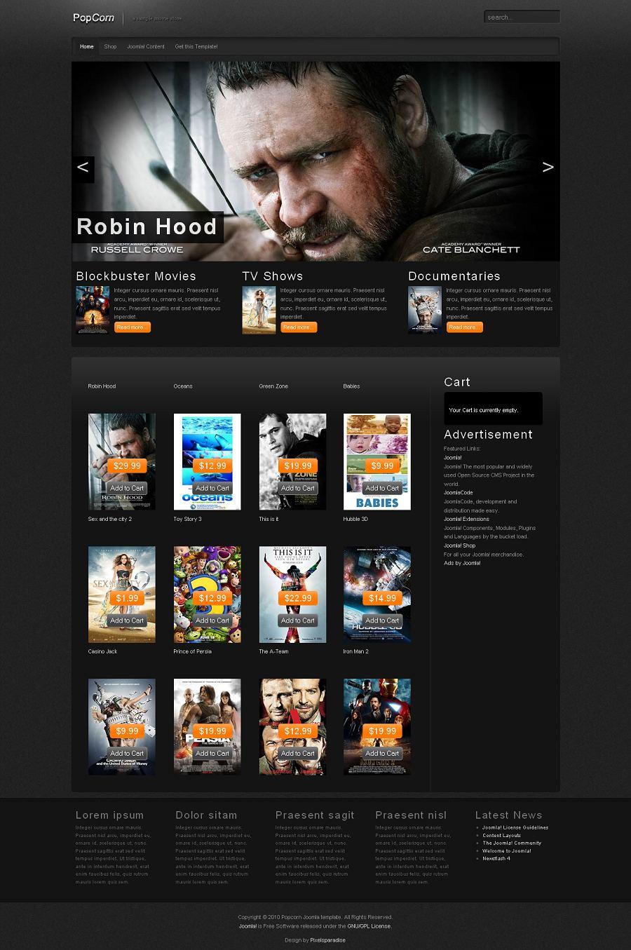 PopCorn Joomla 1.5 Template, Joomla Music, Video Themes - Pixels ...