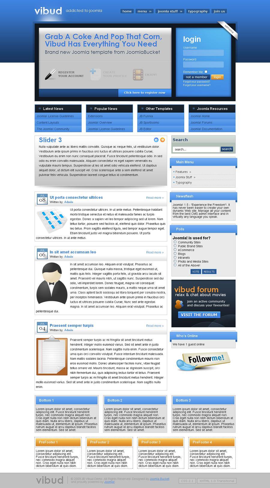 vibud joomla template joomla business portal theme joomlabucket. Black Bedroom Furniture Sets. Home Design Ideas