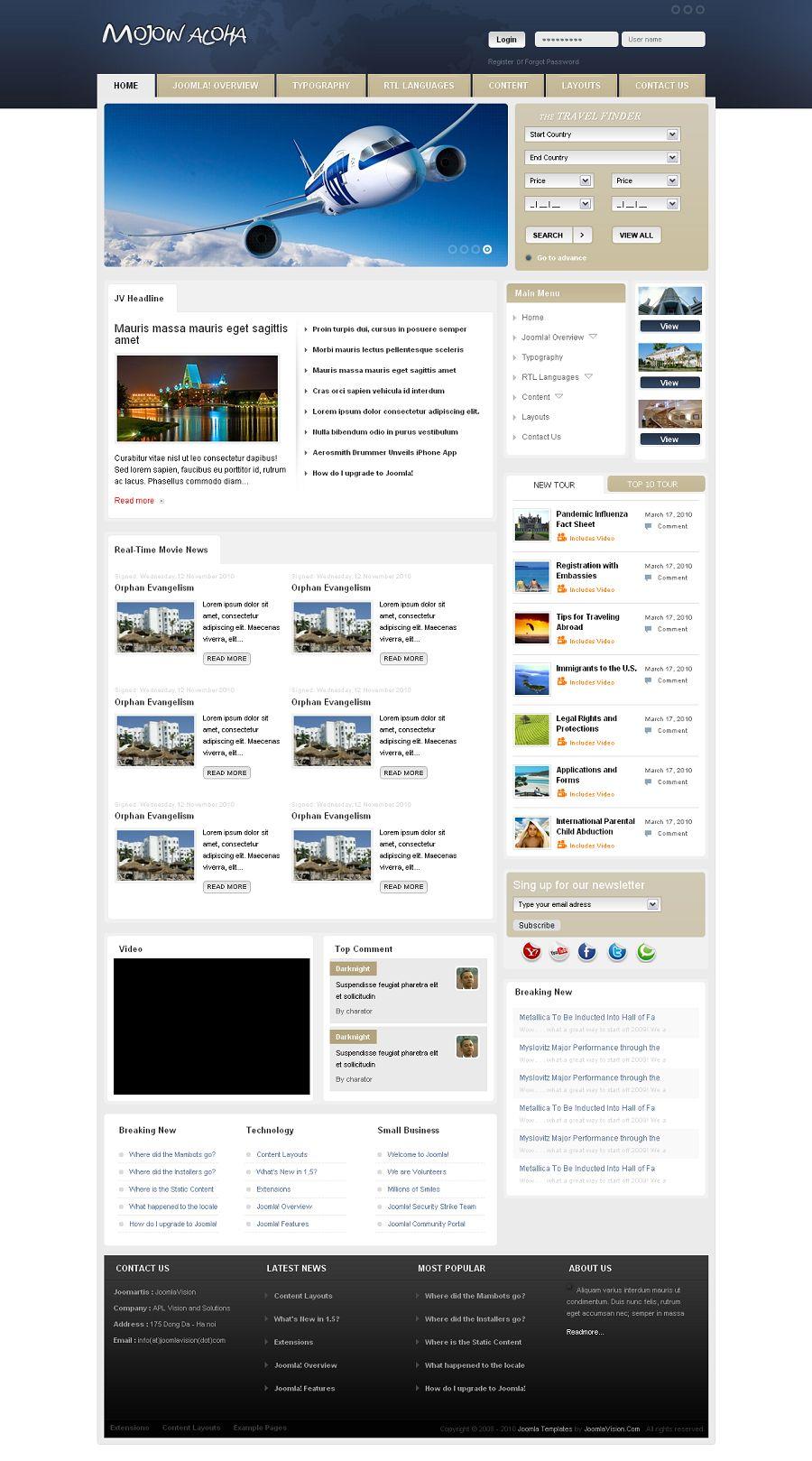 jv mojow premium joomla template for travel portals. Black Bedroom Furniture Sets. Home Design Ideas