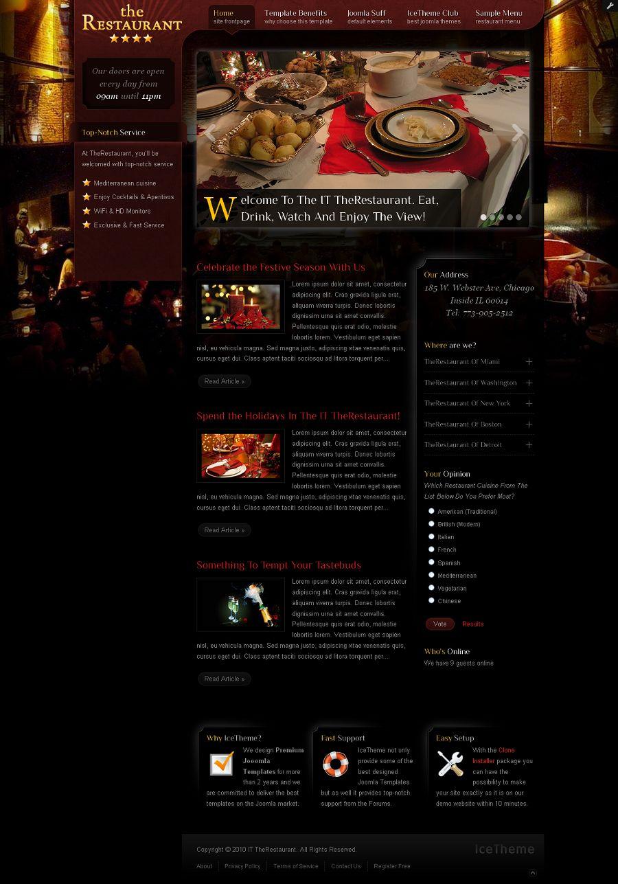 It Therestaurant Premium Joomla Business Template For Restaurants