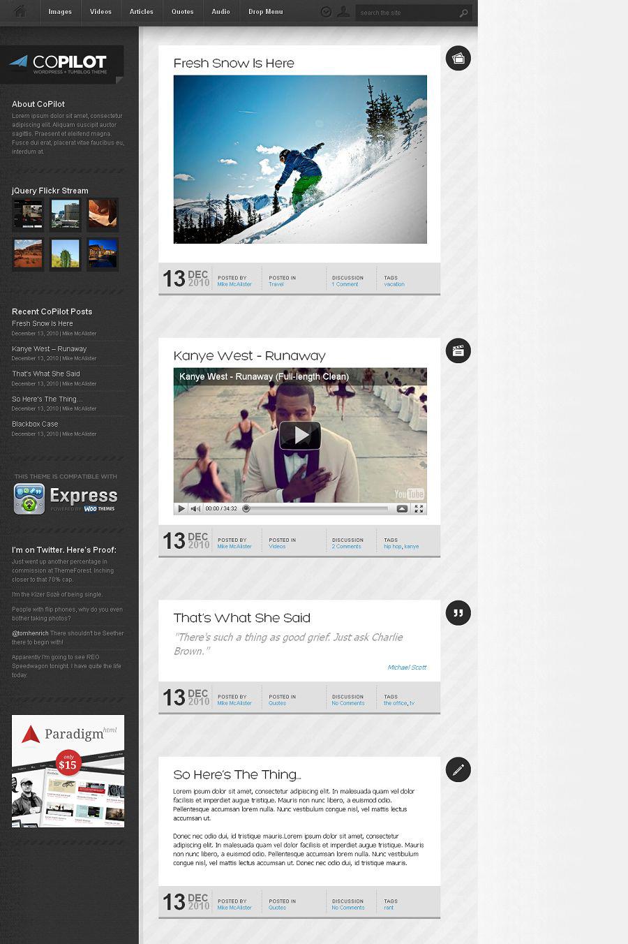 CoPilot Premium WordPress Tumblr-like Theme for Micro Bloggers