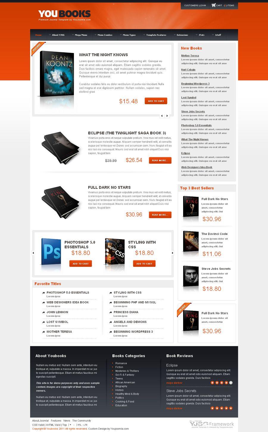 youbooks premium joomla ecommerce template for virtuemart. Black Bedroom Furniture Sets. Home Design Ideas