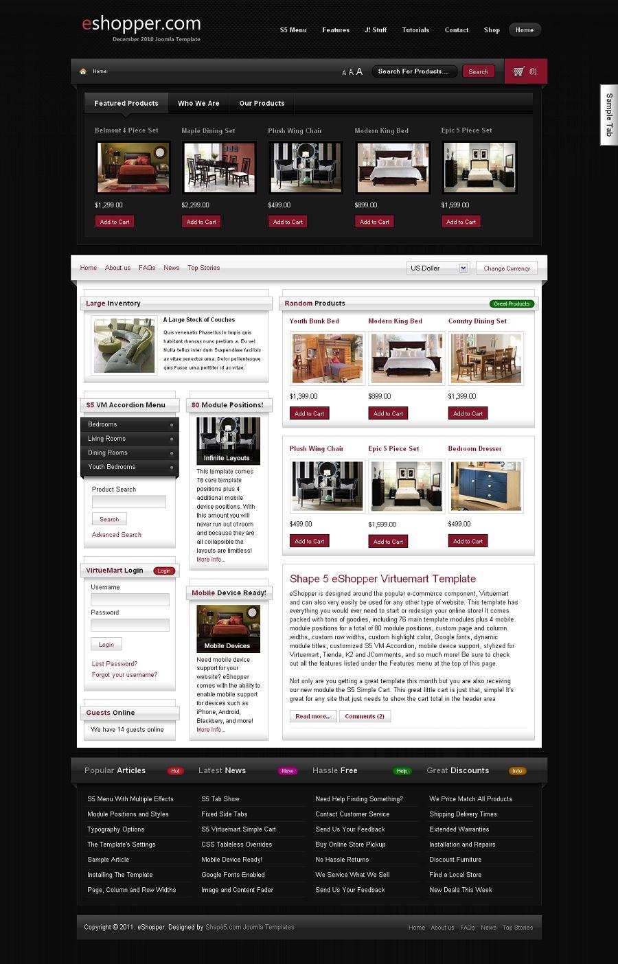 eShopper Premium Joomla eCommerce Template for Virtuemart NkRzo9Pd