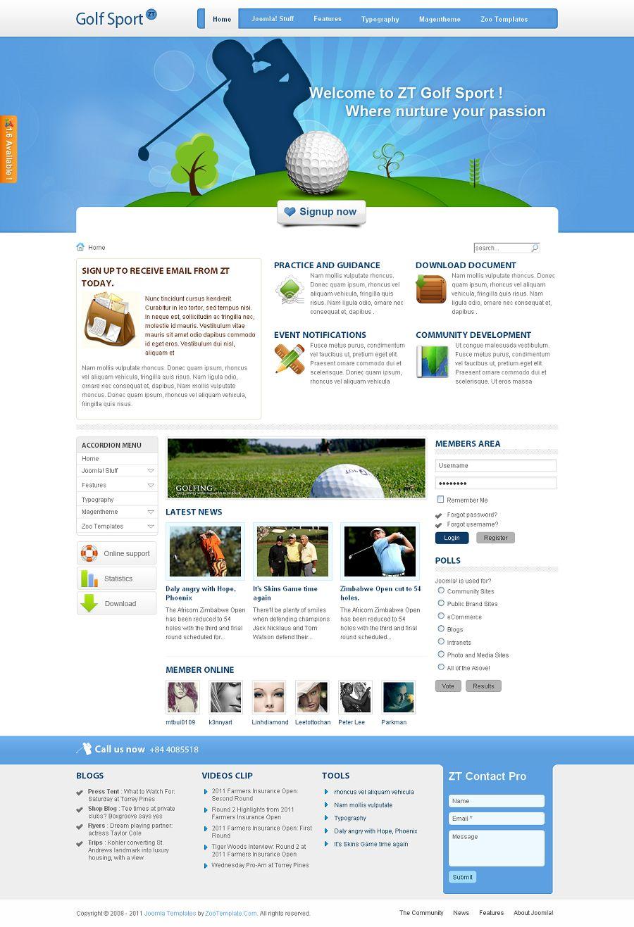 ZT GolfSport Premium Sports Template for Joomla 1.5 and 1.6