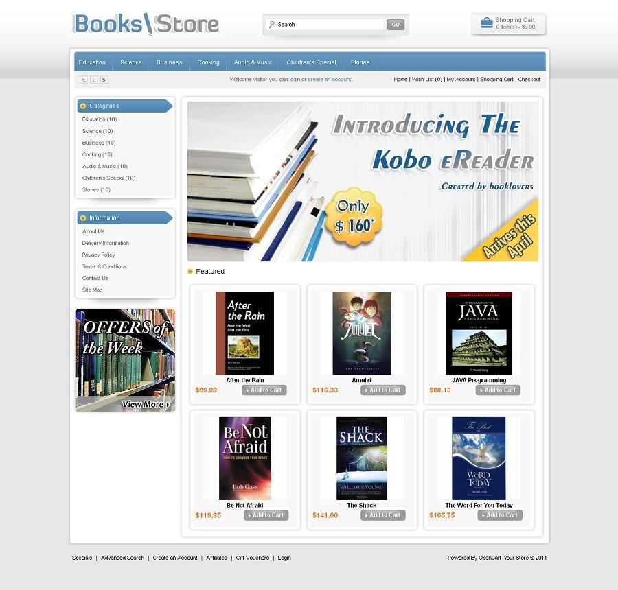 opencart bookstore template - opc010011 premium opencart book store theme