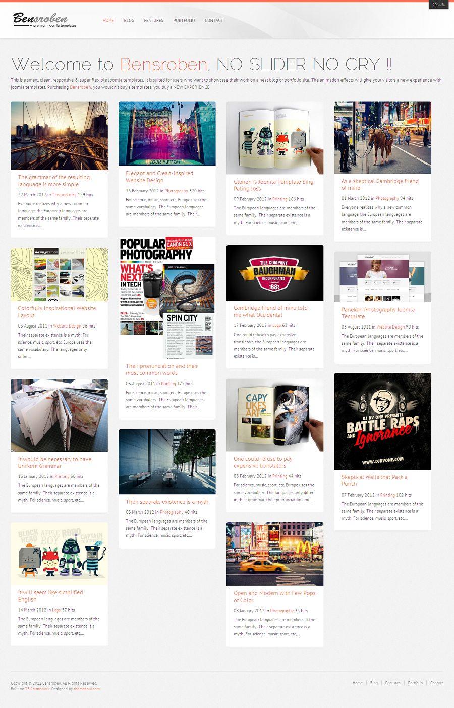 Bensroben - Premium Joomla Blog, Portfolio Template