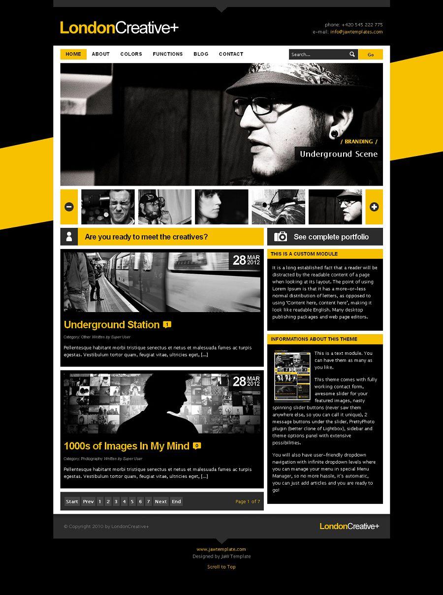 london creative premium joomla portfolio blog template