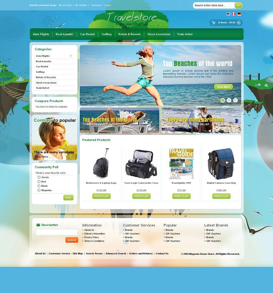 Mag080129 Premium Magento Travel Store Template