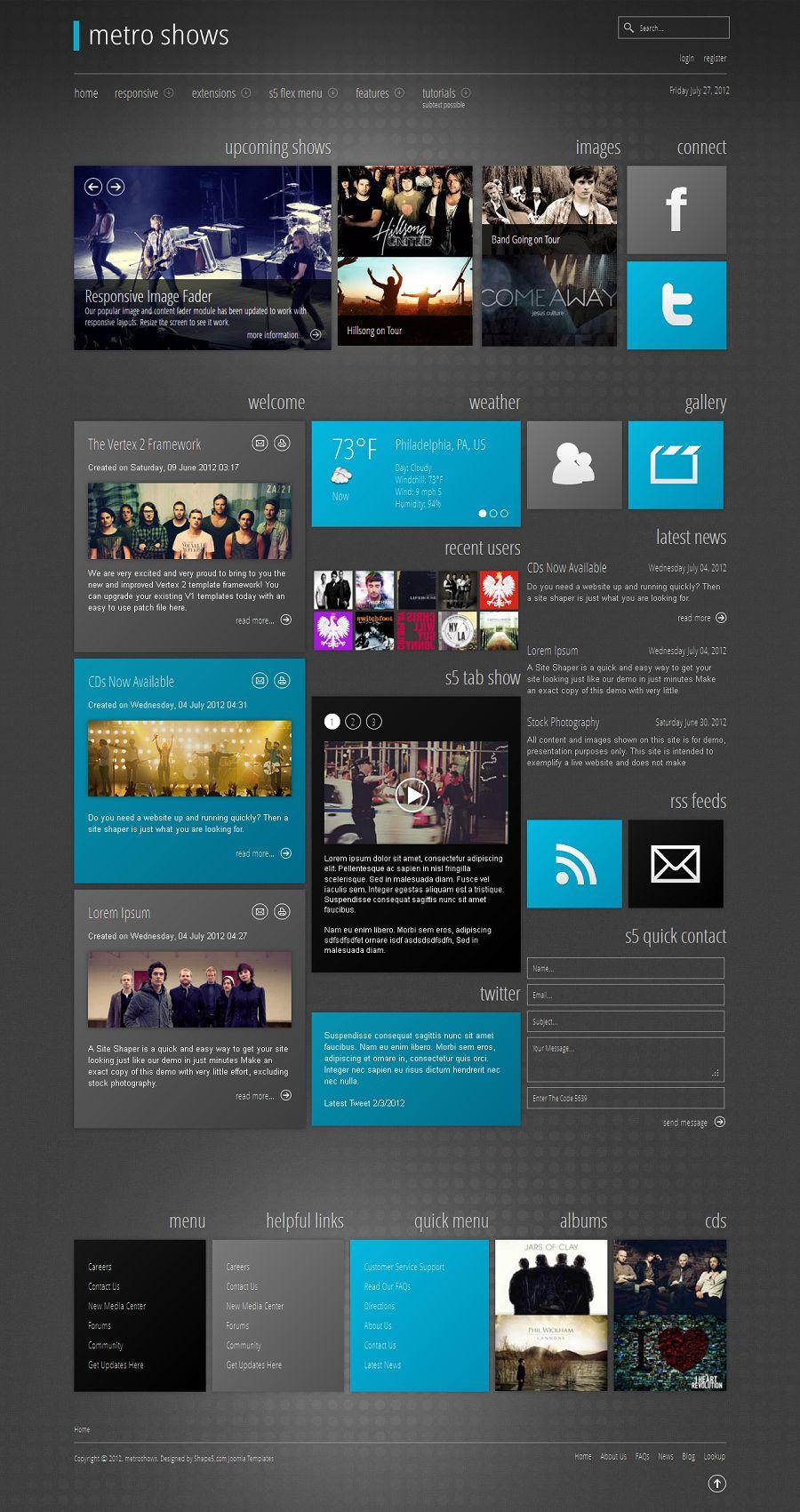 Metro Shows - Responsive Joomla Portfolio Template from Shape5