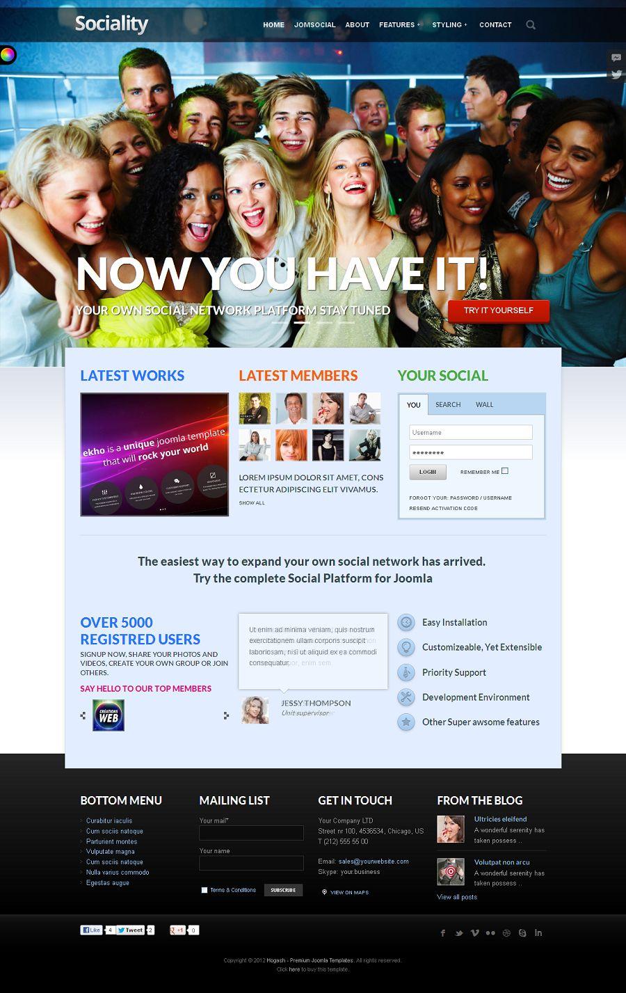 Sociality Premium Joomla Social Network Template