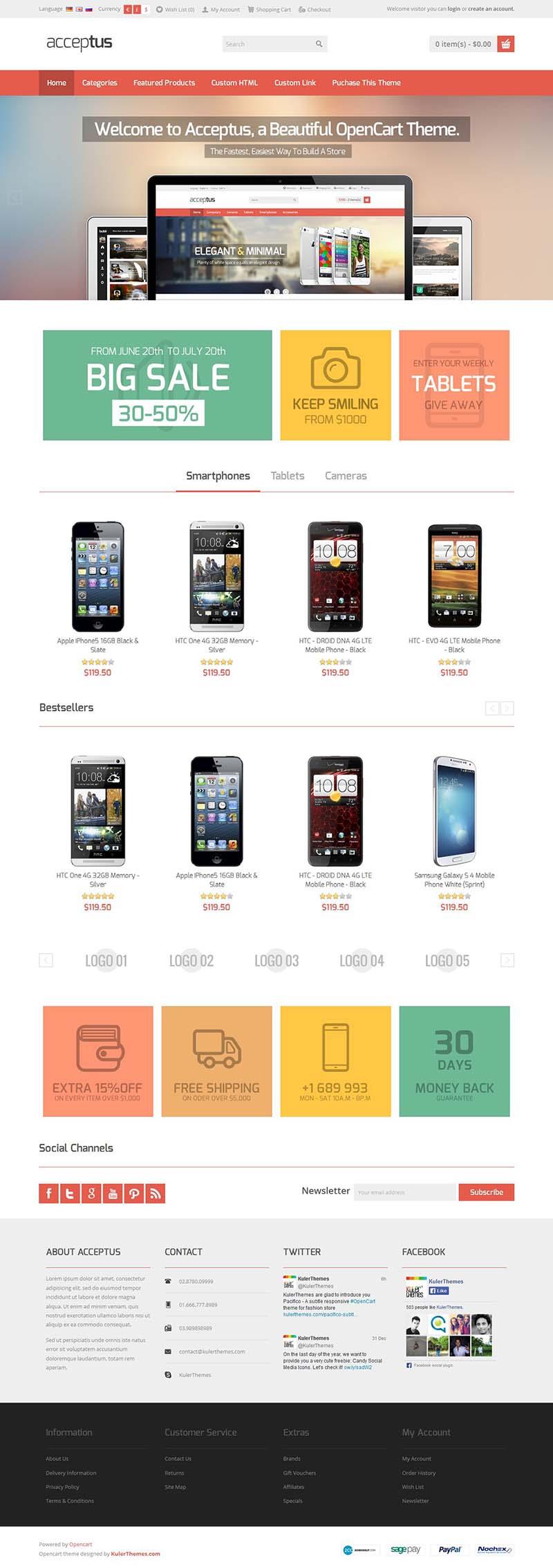 Acceptus Responsive Opencart Mobile Store Template